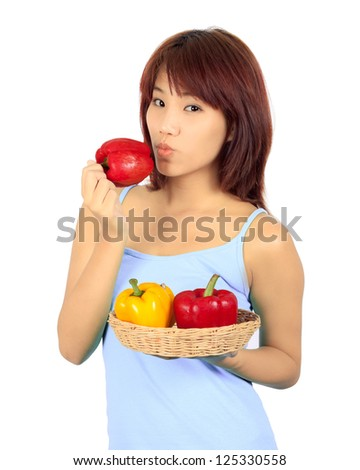 Isolated young asian woman with a red and yellow paprika