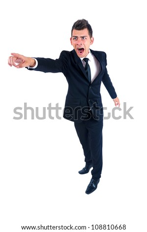 Isolated young business man angry