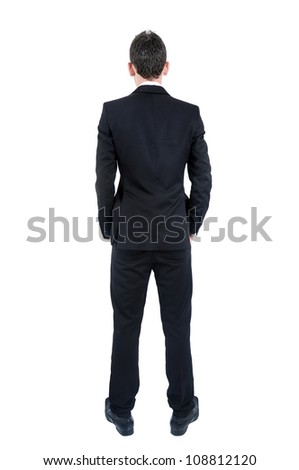 Isolated young business man back view - stock photo