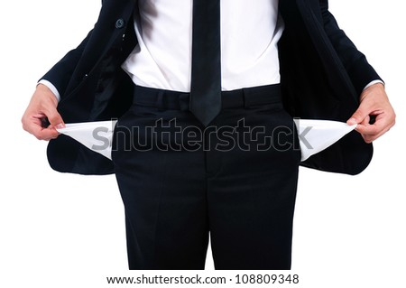 Isolated young business man debt - stock photo