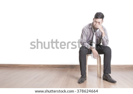 Isolated young business man depressive