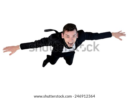 Isolated young business man flying