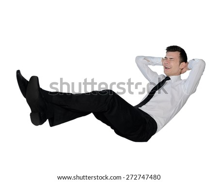 Isolated young business man laughing
