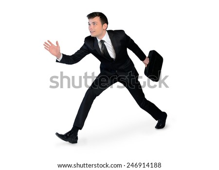 Isolated young business man running  - stock photo