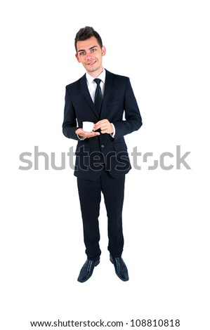 Isolated young business man with coffee - stock photo