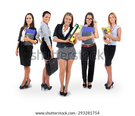 Isolated young business team smiling - stock photo