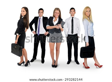 Isolated young business team smiling