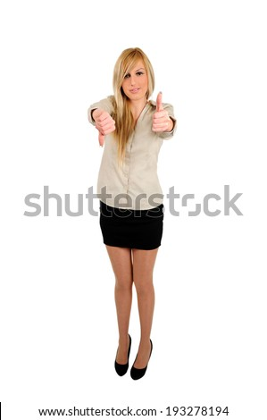 Isolated young business woman  - stock photo