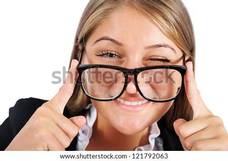 Isolated young business woman blink eye