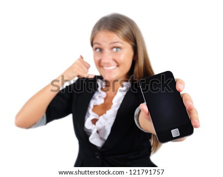 Isolated young business woman call gesture