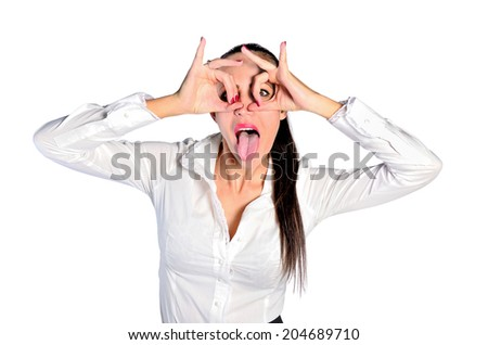 Isolated young business woman crazy - stock photo
