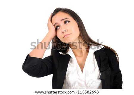 Isolated young business woman disappointed - stock photo
