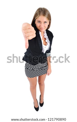 Isolated young business woman dislike - stock photo