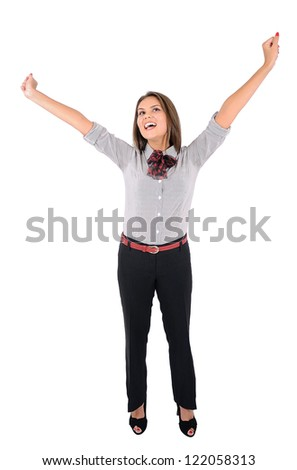Isolated young business woman happy