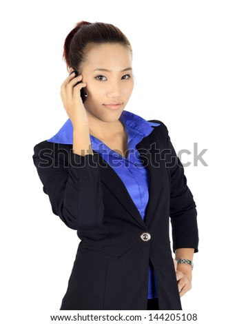 Isolated young business woman has a conversation on a mobile phone - stock photo