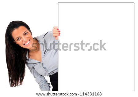 Isolated young business woman hiding wall - stock photo