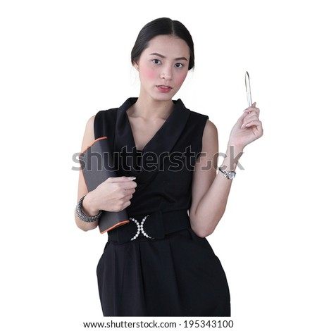 Isolated young business woman hold  her book and pen over white background - stock photo