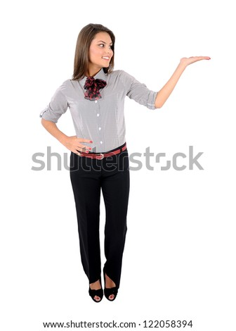 Isolated young business woman holding palm - stock photo