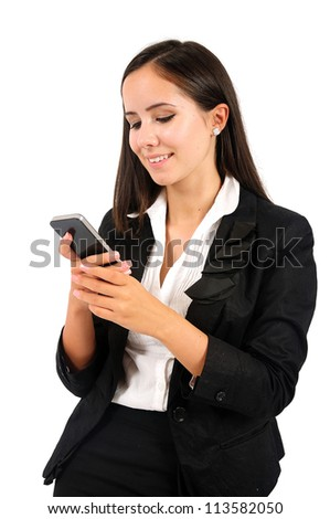 Isolated young business woman holding phone - stock photo