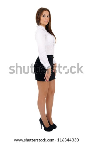 Isolated young business woman looking