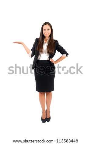 Isolated young business woman presenting