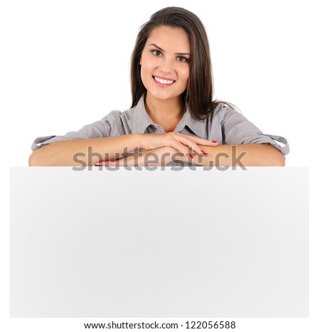 Isolated young business woman presenting - stock photo