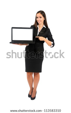 Isolated young business woman presenting laptop