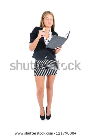 Isolated young business woman reading