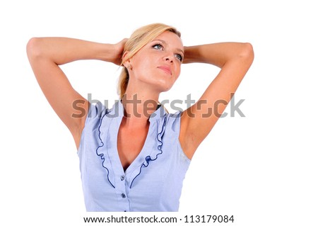 Isolated Young Business Woman Relaxing - stock photo