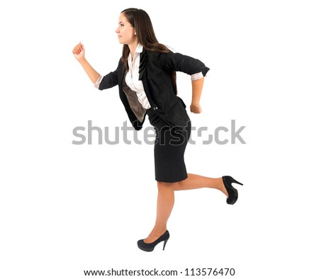 Isolated young business woman running