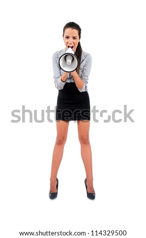 Isolated young business woman screaming - stock photo