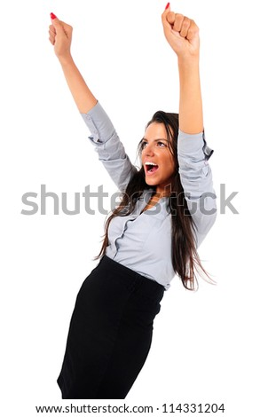 Isolated young business woman screaming happy - stock photo
