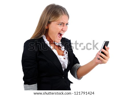Isolated young business woman screaming phone - stock photo