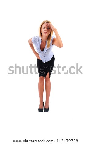 Isolated Young Business Woman Search - stock photo