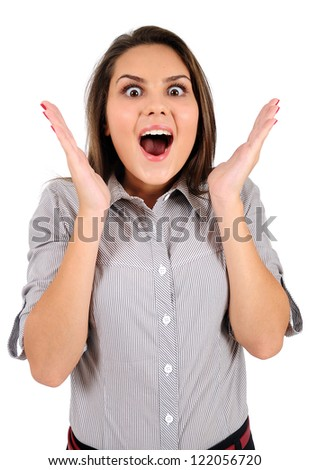 Isolated young business woman shocked - stock photo