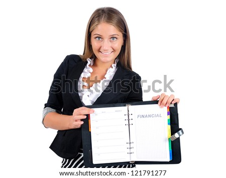 Isolated young business woman showing agenda