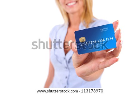 Isolated Young Business Woman Showing Credit Card - stock photo