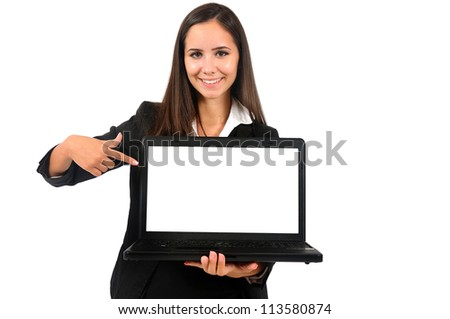Isolated young business woman showing laptop - stock photo