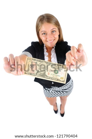 Isolated young business woman showing money