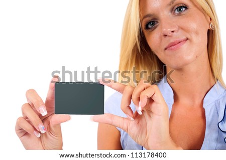 Isolated Young Business Woman Showing Visit Card - stock photo