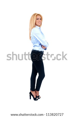 Isolated young business woman standing