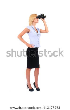 Isolated Young Business Woman With Binocular