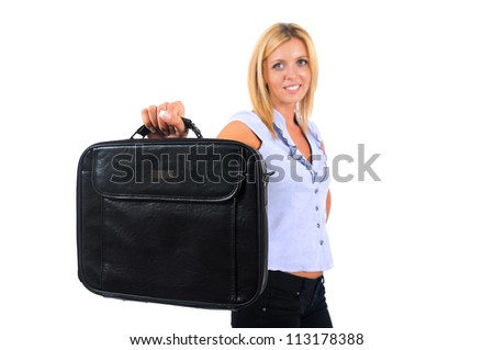Isolated Young Business Woman With Briefcase - stock photo