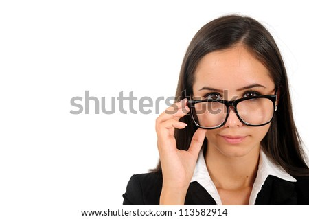 Isolated young business woman with eyeglasses