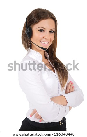 Isolated young business woman with headphone - stock photo
