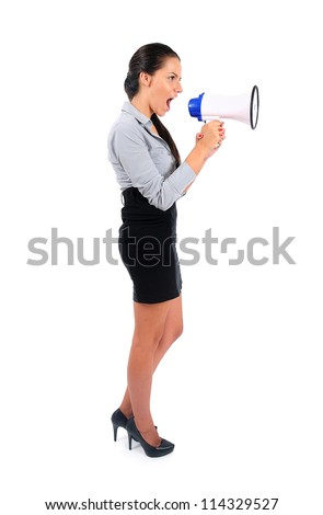 Isolated young business woman with loudspeaker