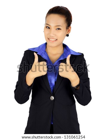 Isolated young business woman with two thumbs up posing on white.