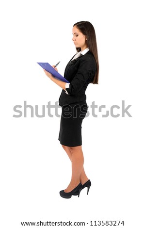Isolated young business woman writing - stock photo