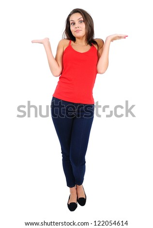 Isolated young casual girl confused - stock photo