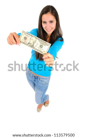 Isolated young casual girl showing money - stock photo
